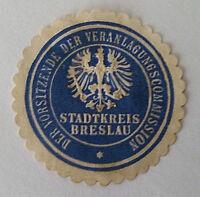 Siegelmarke Vignette Vorsitzende Veranlagungscommission Stadtkreis Breslau (7375