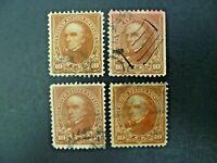 USA Lot of 4 1898 $.10 Webster #282C Used Regular Issue-See Description & Images