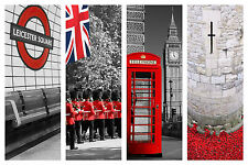 "STUNNING LONDON CITYSCAPES CANVAS COLLAGE #5 QUALITY FRAMED BOX CANVAS 30""X20"""