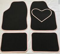 BLACK CAR MATS WITH PINK HEART HEEL PAD FOR PEUGEOT 1007 106 107 108 206 207 208