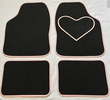 BLACK CAR MATS WITH PINK HEART HEEL PAD FOR FIAT 500 500L 500X BRAVO PUNTO