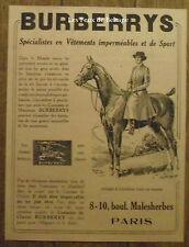 Publicité BURBERRYS vetements , equitation   1921, advert