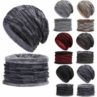 Fashion Men Knitted Snood Beanie Cap Hat and Scarf Set Warm Autumn Winter UK New