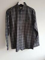 Men's Grey Check Shirt M&S Size Medium < EE123