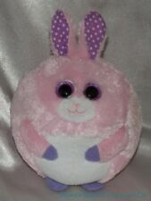Ty Beanie Ballz Babies Plush Carnation The Pink Bunny Rabbit Lilac Glitter Eyes