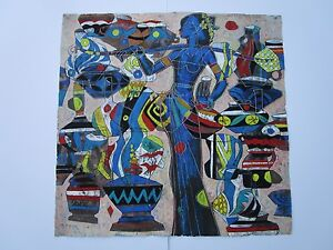 RARE HE NENG PAINTING YUNNAN LARGE SURREAL CUBISM EXPRESSIONISM CHINESE LISTED