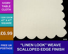 New Square Ivory Tablecloth Linen Weave Scalloped EdgeEffect Kitchen Dining AV1I