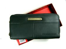 Stone Mountain Talia Nubuck Leather Wallet Black Double Zip $48