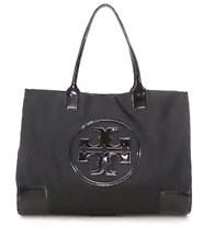 Tory Burch NEW Ella Black Packable Large Nylon Patent Leather Logo Tote Bag $198