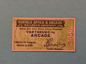 Vintage Train Ticket Buffalo Attica & Arcade Railroad Depots 1930's-40 green NY