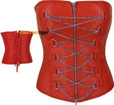 Faux Leather Medieval Edwardian Corset Top Gothic Silver Zipper Plus Size 6 - 28