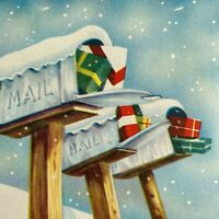 Vintage Mid Century Christmas Greeting Card Snowy Mailboxes Filled With Gifts