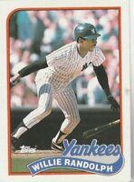 FREE SHIPPING-MINT-1989 Topps #635 Willie Randolph New York Yankees +BONUS CARDS
