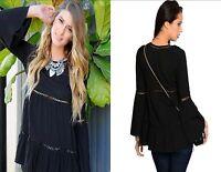 Women's Black Fashion Boho Tunic Blouse Top Shirt Bell Sleeve Casual Urban