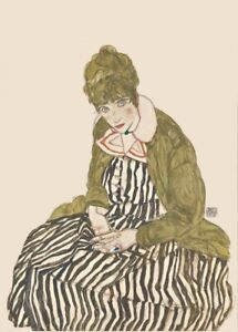 Edith with Striped Dress EGON SCHIELE Expressionism Vienna Secession Poster