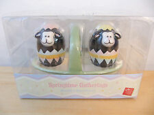 "NEW Russ Springtime Easter ""Sheep"" Mini Salt & Pepper Shakers with Basket"