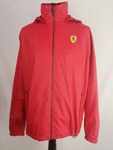 FERRARI Men's Hooded Rain Jacket Waterproof Windbreaker Red Size XL K998
