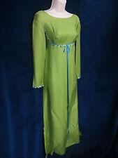60's Vintage Green Grecian Goddess Blue Floral Formal Maxi Wedding Hippie Dress