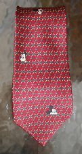 Disney Mickey Mouse head on burgundy silk necktie