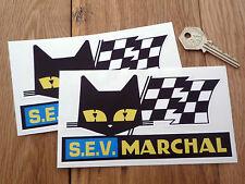 SEV MARCHAL Cat & Script Race Car STICKERS 150mm Pair GT40 LeMans 24hour Classic