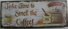 Iron Tin Metal Sign Home Mom Kitchen Take time smell coffee Decor wall art 88734
