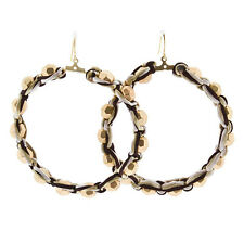 "3"" Long Brown Tan Cord Wrapped Hypoallergenic Gold Bead Hoop Dangle Earrings"