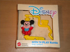 1988 VINTAGE MATTEL DISNEY SPIN N PLAY BABY MICKEY RATTLE TOY MIB