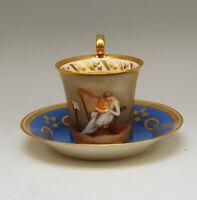 SELTENE ALT WIEN SAMMEL BILD TASSE VIENNA CUP WITH SAUCER MALER NR: 155 UM 1815