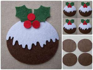 FELT CHRISTMAS PUDDINGS die cuts x2, x4  or x12 ornaments Decorations Appliqués