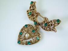 Feminine & Cute Vintage Green Rhinestone & Faux Pearl Heart Dangle Brooch  844S4