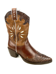 VIC MATIE Western Cowboy Boots Womens Size 8 US 38 Brown with Snakeskin Leather