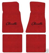 Chevy Chevelle 1968-1972 4 Piece Floor Mat Set  Red with Black Chevelle Logo