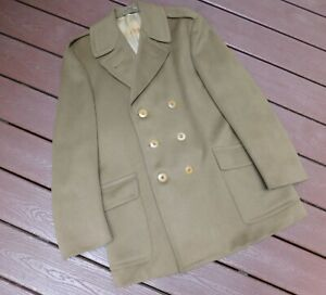 ORIGINAL WWII U.S. ARMY OFFICER WOOL DOESKIN OVERCOAT LARGE SIZE 42