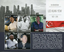 Tuvalu 2015 MNH Lee Kuan Yew in Memoriam Prime Minister Singapore 5v M/S Stamps