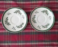 """Lot of 2 Spode Christmas Tree S3324 5 3/4"""" Teacup Saucers Made in England"""