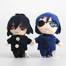 "2X Black Butler Sebastian & Ciel Kuroshitsuji Plush Doll Toy 4"" Pendant Keychain"