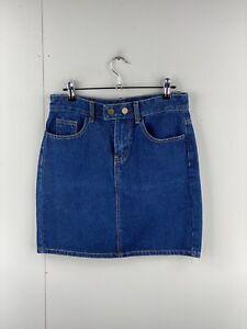 Jamor Women's Casual Denim Snap Button Up Skirt Size L Blue