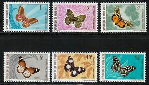 Burkina Faso 1971 MNH Sc 244-249 Butterflies and Moths **