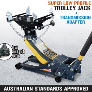 Super Low Profile Trolley Jack + Transmission Adapter - Hydraulic Car Floor Lift