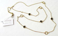 Mia Fiore Black Onyx Alhambra Clover Sterling Silver & 18kt Gold Plated Necklace