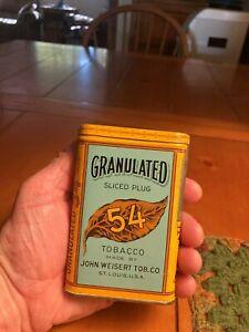 Granulated 54 Sliced Plug Vertical Pocket Tobacco Tin - Very Nice!