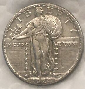 1924-D Standing Liberty Quarter 25c Silver Coin. Looks UNC to Me!