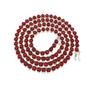 Unisex 3 Prong 4MM Tennis Chain Necklace Silver Finish Red Lab Diamonds 18-24''