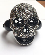 Butler and WIlson COUTURE Silver Crystal LARGE Skull Bangle ONLY 2 DISCONTINUED