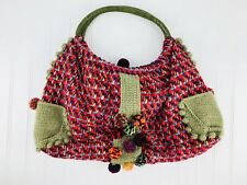 Purse Tote by Ipa Nima Knit Large Multicolored Pom Pom