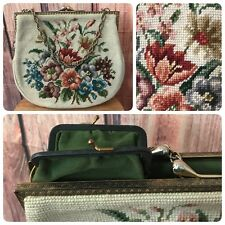 Vintage Needlepoint Purse WWII Handbag Metal Frame Chain Handle Beige Floral