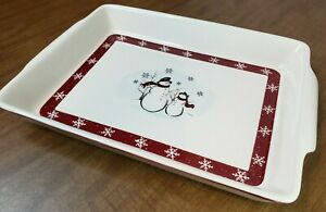 "Vintage ROYAL SEASONS Stoneware Holiday Snowman CASSEROLE DISH 12""x 9"" Baking"