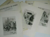 Lote Grabado Seis Fuentes de Paris Georges Capon Châtelet Mars Bonaparte Innocen