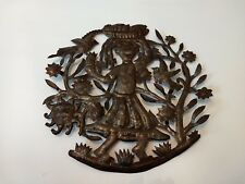 """Hammered Metal Wall Art Hanging Decorations For Home Haitian Decor 14"""" birds sun"""