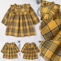 Kids Baby Girls Long Sleeve Plaid Checks Ruffled Dress Casual Xmas Party Tutu SP